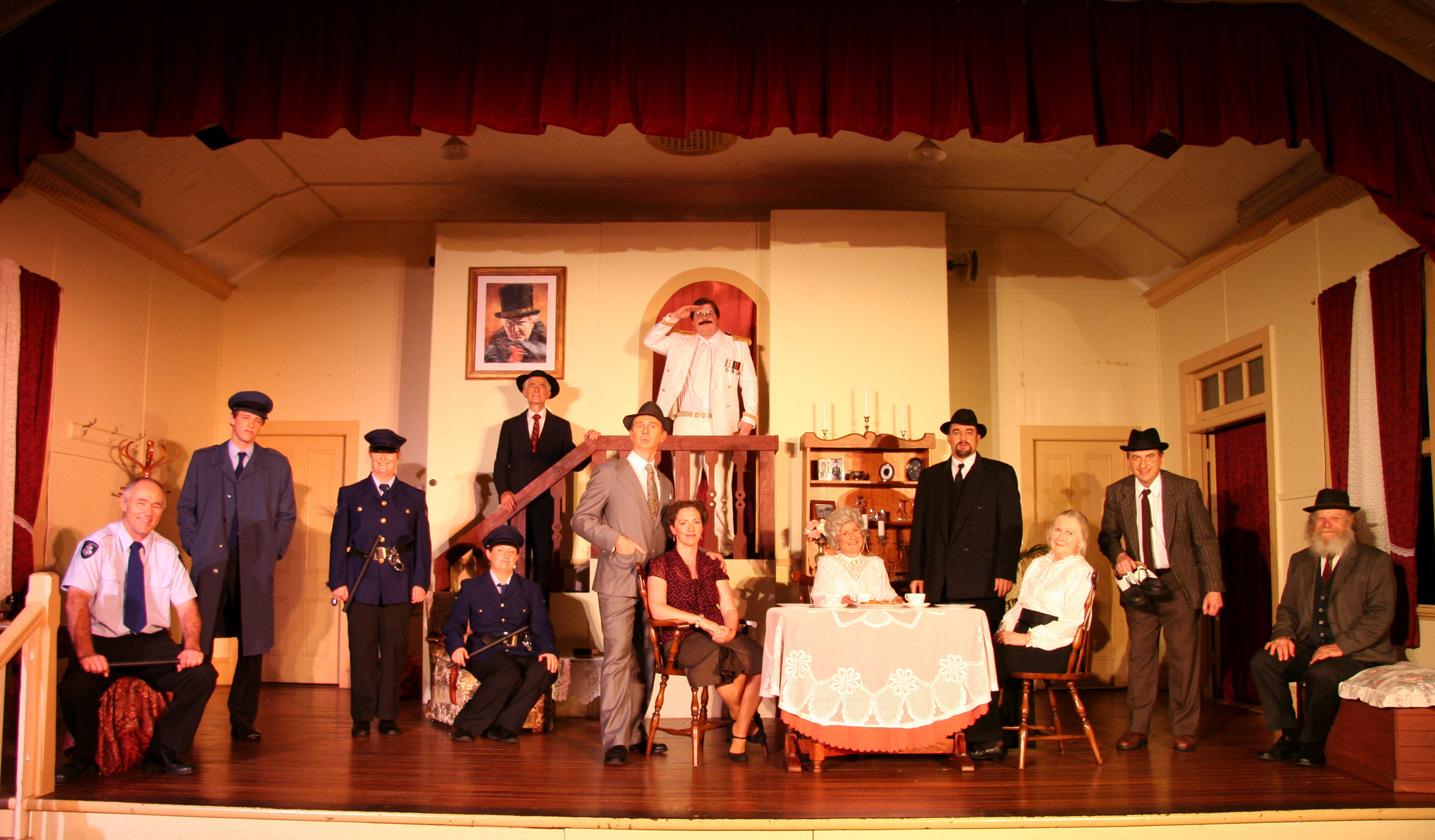 "The cast of Footprint Theatre's ""Arsenic and Old Lace"" on stage"