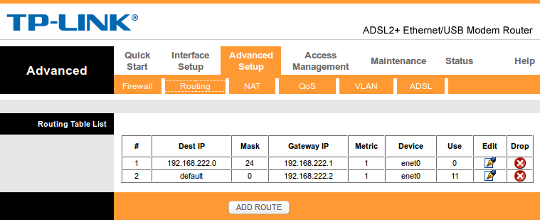 Adding a default route to a TP-Link TD-8817 ADSL router