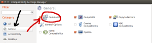 image of the General tab in the Compiz configuration settings manager, showing the Commands module enabled