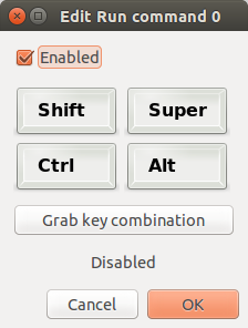 Image of the dialogue box where a key combination may be entered or grabbed in the Commands module of the Compiz configuration settings manager